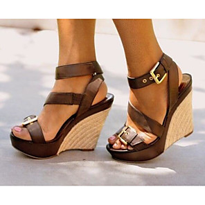 cheap Women's Sandals-Women's Sandals Wedge Sandals Summer Wedge Heel Round Toe Daily PU Black / Brown