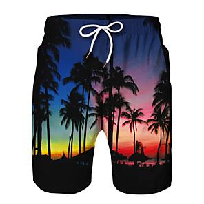 cheap Boys' Pants-Kids Boys' Active Basic Floral Print Color Block Drawstring Shorts Black