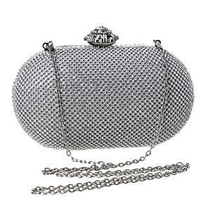 cheap Clutches & Evening Bags-Women's Crystals Polyester / Alloy Evening Bag Solid Color Black / Gold / Silver