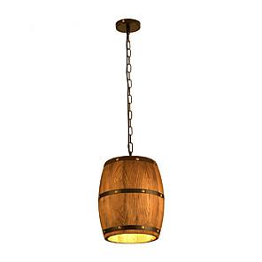 cheap Candle-Style Design-American Rural Real Wood Wood Art Chandelier Dining Room Living Room Bedroom Study Antique Wooden Barrel Wine Barrel Chandelier