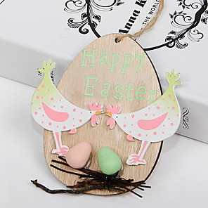 cheap Christmas Decorations-Happy Easter bunny egg Holiday Decorations wood hanging objects