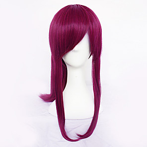 cheap Movie & TV Theme Costumes-LOL Akali Cosplay Wigs Women's Asymmetrical Side bangs 23 inch Heat Resistant Fiber kinky Straight Red Fuchsia Anime