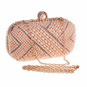 cheap Clutches & Evening Bags-Women's Pearls Polyester Evening Bag Solid Color Black / White / Champagne