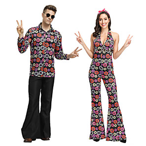 cheap Historical & Vintage Costumes-Hippie Disco Retro Vintage 1960s Hippie 1970s Disco Outfits Flowy Pants Men's Women's Couple's Cotton Costume Purple / Rainbow Vintage Cosplay Sleeveless / Leotard / Onesie / Leotard / Onesie
