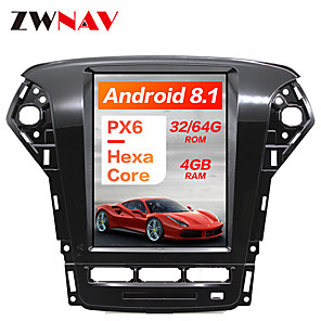 cheap Car DVD Players-ZWNAV 10.4 inch 1 DIN PX6 4GB 64GB Tesla style Android 8.1 Car GPS Navigation Car multimedia Player In-Dash Car DVD Player For Ford Mondeo / Fusion MK4 2011-2013