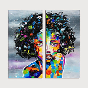 cheap Abstract Paintings-Hand Painted Canvas Oilpainting Abstract People Set of 2 Home Decoration with Frame Painting Ready to Hang