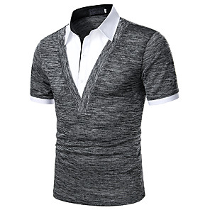 cheap Bluetooth Car Kit/Hands-free-Men's Polo Solid Colored Patchwork Short Sleeve Tops Basic Shirt Collar Black Gray / Work