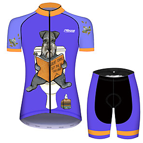 cheap Cycling Jersey & Shorts / Pants Sets-21Grams Women's Short Sleeve Cycling Jersey with Shorts Black / Blue Dog Animal Floral Botanical Bike Clothing Suit Breathable 3D Pad Quick Dry Ultraviolet Resistant Sweat-wicking Sports Dog Mountain