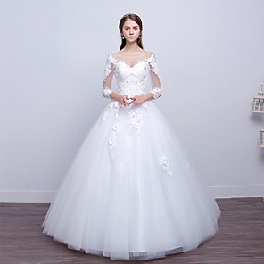 cheap Wedding Wraps-Ball Gown Wedding Dresses Scoop Neck Floor Length Lace Tulle Polyester Long Sleeve Romantic Sexy Illusion Sleeve with Lace Appliques 2020