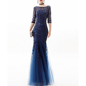 cheap Evening Dresses-Mermaid / Trumpet Glittering Blue Engagement Formal Evening Dress Jewel Neck 3/4 Length Sleeve Floor Length Lace Polyester with Sequin Appliques 2020