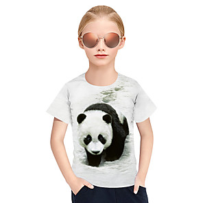 cheap Bathroom Gadgets-Kids Girls' Active Punk & Gothic 3D Plaid Animal Short Sleeve Tee White