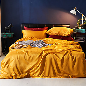 cheap Solid Duvet Covers-Duvet Cover Sets 4 Piece Polyester / Viscose Solid Colored Yellow Printed Simple