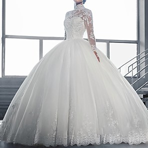 cheap Wedding Wraps-Ball Gown Wedding Dresses High Neck Sweep / Brush Train Lace Long Sleeve Formal Illusion Sleeve with Lace Insert Embroidery 2020