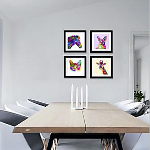 cheap Framed Arts-Framed Art Print Framed Set4 - Pop Color Cartoon Cute Animals PS Illustration Wall Art