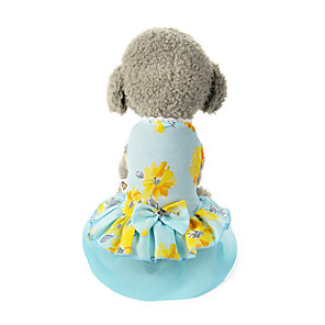 cheap Dog Clothes-Dog Costume Dress Dog Clothes Breathable Blue Costume Beagle Bichon Frise Chihuahua Polyester Bowknot Flower Party Cute XS S M L XL
