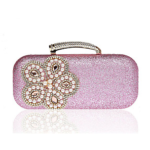 cheap Clutches & Evening Bags-Women's Crystals / Flower Polyester Evening Bag Floral Print Black / Blushing Pink / Gold
