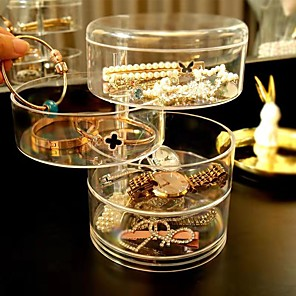 cheap Office Supplies & Decorations-4-layer Transparent Rotating Plastic offic Jewelry Box Earrings Necklace Ring Jewelry Storage Box Multi-function Earring Storage Rack