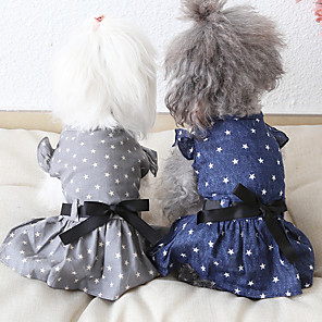 cheap Dog Clothes-Dog Costume Dress Dog Clothes Breathable Blue Gray Costume Beagle Bichon Frise Chihuahua Fabric Bowknot Stars Casual / Sporty Cute XS S M L XL