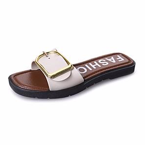 cheap Women's Sandals-Women's Sandals Flat Sandal Summer Flat Heel Open Toe Daily PU White / Black