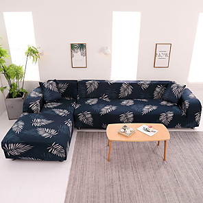 cheap Mosquito Nets-Leaves Print Dustproof All-powerful Slipcovers Stretch L Shape Sofa Cover Super Soft Fabric Couch Cover with One Free Pillow Case