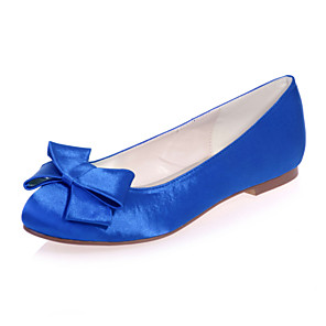 cheap Wedding Shoes-Women's Wedding Shoes Flat Heel Round Toe Bowknot Satin Sweet Spring & Summer White / Purple / Red / Party & Evening