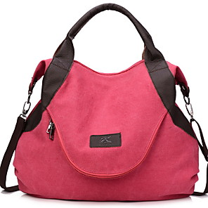 cheap Handbag & Totes-Women's Zipper Canvas Top Handle Bag Solid Color Dark Brown / Red / Blue