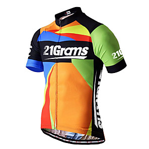cheap Cycling Jerseys-21Grams Men's Short Sleeve Cycling Jersey Spandex Polyester Blue+Orange Plaid Checkered Bike Jersey Top Mountain Bike MTB Road Bike Cycling UV Resistant Breathable Quick Dry Sports Clothing Apparel