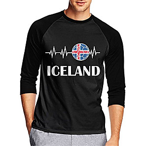 cheap Cycling Jerseys-21Grams Men's Long Sleeve Cycling Jersey Downhill Jersey Dirt Bike Jersey Black Iceland National Flag Bike Jersey Top Mountain Bike MTB Road Bike Cycling UV Resistant Breathable Quick Dry Sports