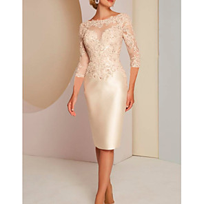 cheap Latin Shoes-Sheath / Column Mother of the Bride Dress Elegant Jewel Neck Knee Length Charmeuse 3/4 Length Sleeve with Appliques 2020