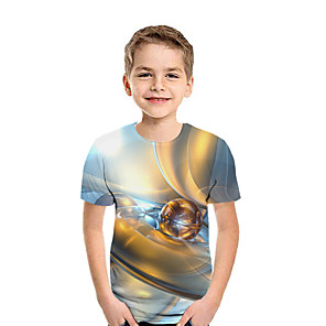 cheap LED String Lights-Kids Boys' Active Street chic Geometric Color Block 3D Short Sleeve Tee Brown