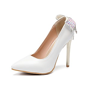 cheap Wedding Shoes-Women's Wedding Shoes Stiletto Heel Pointed Toe Bowknot PU Spring & Summer White