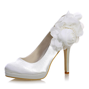 cheap Wedding Shoes-Women's Wedding Shoes Stiletto Heel Round Toe Imitation Pearl / Satin Flower Satin Sweet Fall / Spring & Summer White / Purple / Champagne / Party & Evening