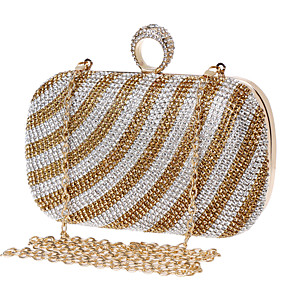 cheap Clutches & Evening Bags-Women's Crystals Polyester / Alloy Evening Bag Black / Gold / Rainbow