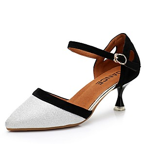 cheap Latin Shoes-Women's Dance Shoes Modern Shoes Heel Flared Heel Silver / Performance