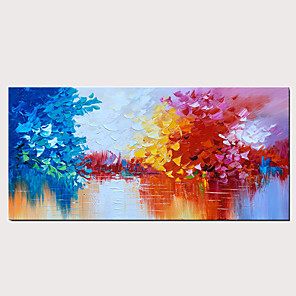 cheap Floral/Botanical Paintings-Handmade Oil Painting on Canvas Blue and Red Abstract Landscape Wall Art Lake Scenery Artwork