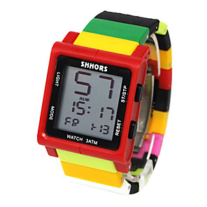 cheap Square & RectangularWatches-Kids Sport Watch Quartz Outdoor Water Resistant / Waterproof Rubber Black / Blue / Red Digital - Red / Yellow Black Red One Year Battery Life / Chronograph / Noctilucent