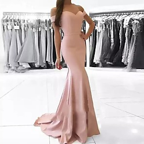 cheap Bridesmaid Dresses-Mermaid / Trumpet Off Shoulder Court Train Polyester Bridesmaid Dress with Ruching