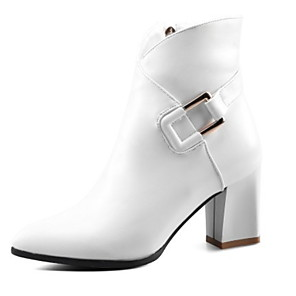 cheap Women's Boots-Women's Boots Chunky Heel Pointed Toe PU Booties / Ankle Boots Fall & Winter Black / White / Red