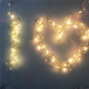 cheap LED String Lights-2M 20Leds Warm White Fairy Lights LED Wire String Pearl Holiday Light Copper Twinkle Lighting For Wedding Home Party Christmas Garland Decoration AA Battery Power (come without battery)