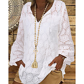 cheap Pillow Covers-Women's Solid Colored Lace Hollow Shirt - Lace Daily Vacation White / Black