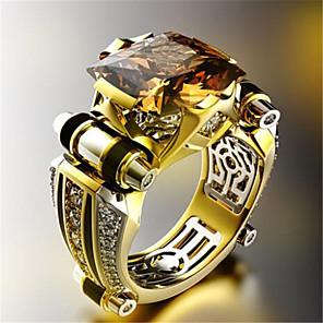 cheap Men's Necklaces-Men Women Ring 1pc Black White Gold Plated Imitation Diamond Round Stylish Gift Festival Jewelry Classic Flower