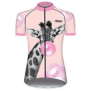 cheap Cycling Jerseys-21Grams Women's Short Sleeve Cycling Jersey Pink Animal Balloon Deer Bike Jersey Top Mountain Bike MTB Road Bike Cycling UV Resistant Breathable Quick Dry Sports Clothing Apparel / Stretchy / Giraffe