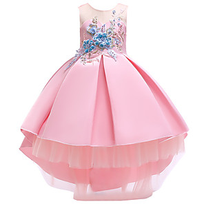 cheap Movie & TV Theme Costumes-Princess Dress Flower Girl Dress Girls' Movie Cosplay A-Line Slip Cosplay Pink / Beige / Light Blue Dress Halloween Carnival Masquerade Tulle Polyester