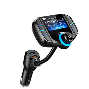 cheap Car FM Transmitter/MP3 Players-BT70 Bluetooth FM Transmitter with QC 3.0 Wireless In-Car Radio Adapter Handsfree Car Kit with 1.7 Inch Display and Dual USB Car Charger AUX Input TF Card Slot