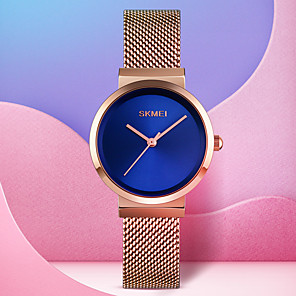cheap Quartz Watches-SKMEI Women's Quartz Watches Casual Fashion Black Silver Gold Stainless Steel Chinese Quartz Rose Gold Golden+Black Gold Water Resistant / Waterproof New Design Cool 30 m 1 pc Analog One Year Battery