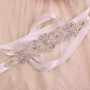 cheap Party Sashes-Satin / Tulle Wedding / Party / Evening Sash With Crystal / Imitation Pearl / Belt Women's Sashes / Appliques