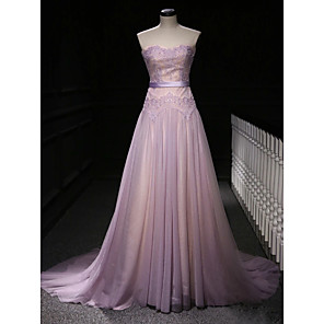 cheap Evening Dresses-A-Line Elegant Purple Engagement Formal Evening Dress Strapless Sleeveless Court Train Polyester with Beading Lace Insert Appliques 2020