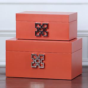 cheap Accessories-Square Jewelry Box - Wooden Light Green, White, Red 18 cm 8 cm 12 cm / Women's