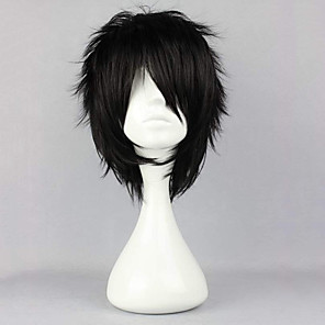 cheap Costume Wigs-Synthetic Wig Curly Halloween Asymmetrical Wig Short Natural Black Synthetic Hair 12 inch Men's Best Quality Fluffy Black