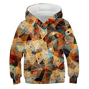 cheap iPhone Screen Protectors-Kids Boys' Basic Street chic Color Block 3D Print Long Sleeve Hoodie & Sweatshirt Brown